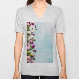 Sweet and colourful doughnuts with sprinkles, purple tulips and berries Unisex V-Neck
