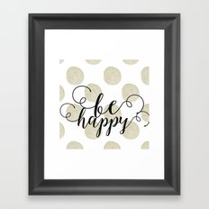 Gold Watercolor Dots Happy Framed Art Print