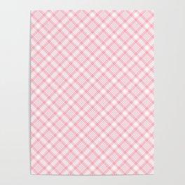 Light Pink Diagonal Plaid Pattern Poster