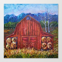 Red Barn by Lena Owens Canvas Print