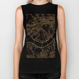 Black and gold Seoul map Biker Tank