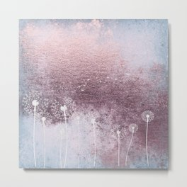 Dandelion Floral Drawing on Rose Gold Metal Metal Print