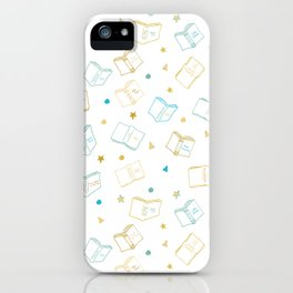 Classic Book Doodles Blue & Yellow iPhone Case