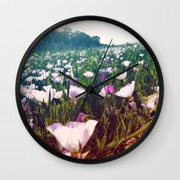 Field of Pink Evening Primrose - Texas Wildflowers Wall Clock