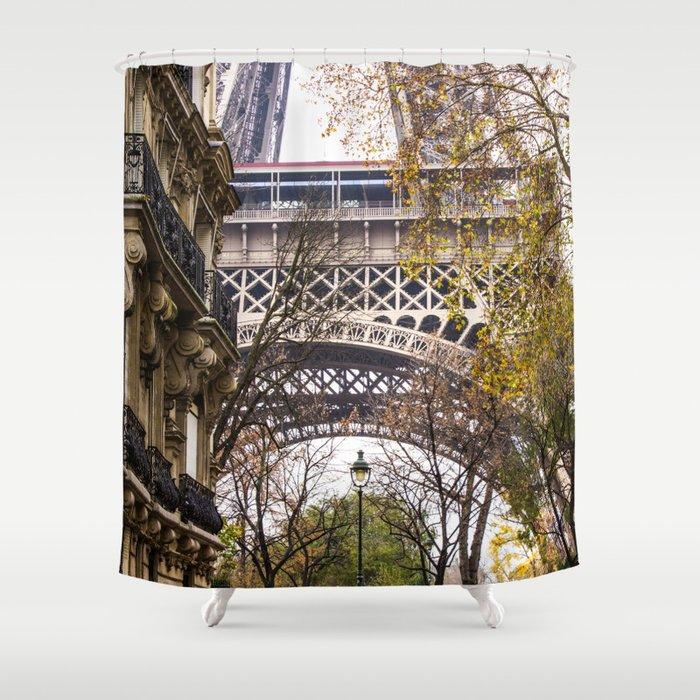 Eiffel Tower in Between Buildings Shower Curtain