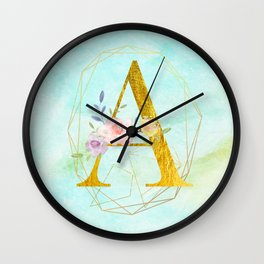 Gold Foil Alphabet Letter A Initials Monogram Frame with a Gold Geometric Wreath Wall Clock