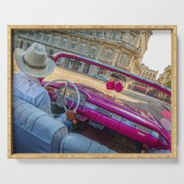 Pink taxi ride in Old Havana Serving Tray