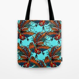rooster ink turquoise Tote Bag