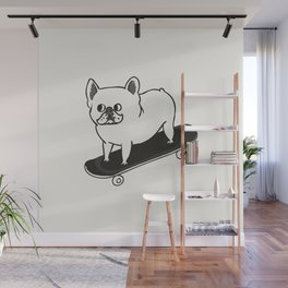 Skateboarding French Bulldog Wall Mural