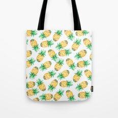 Tropical sunshine yellow green watercolor pineapple Tote Bag