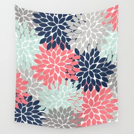Flower Burst Petals Floral Pattern Navy Coral Mint Gray Wall Tapestry