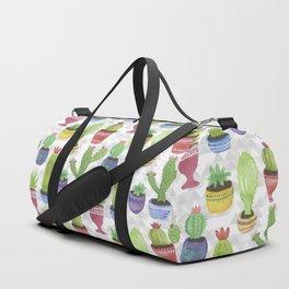 Watercolor Succulent Pattern Duffle Bag