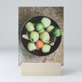 Top view of a bowl of fruit Mini Art Print