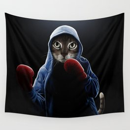 Boxing Cool Cat Wall Tapestry