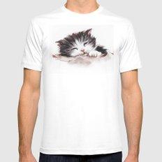 kitten sleeps Mens Fitted Tee White MEDIUM