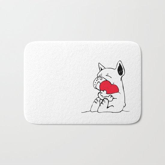 Frenchie Heart Bath Mat