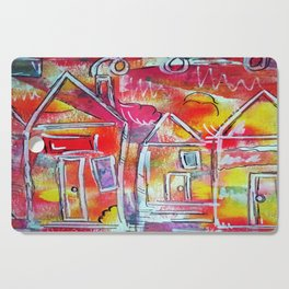 Orange Neon Houses Cutting Board