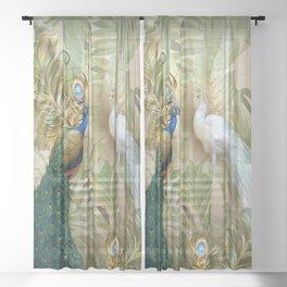 Vintage Royal Peacock Temple Dreams Sheer Curtain