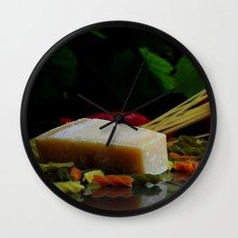 Parmesan cheese and pasta still life Wall Clock