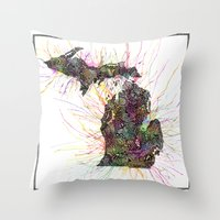 michigan Throw Pillows featuring Michigan by Kalie Hoodhood