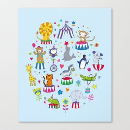 Circus Animal Alphabet - multi on pale blue Canvas Print