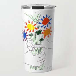 Pablo Picasso Bouquet Of Peace 1958 (Flowers Bouquet With Hands), T Shirt, Artwork Travel Mug