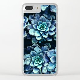 Blue And Green Succulent Plants Clear iPhone Case
