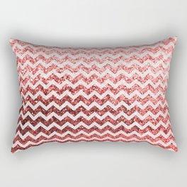 Glitter Sparkly Bling Chevron Pattern (red) Rectangular Pillow