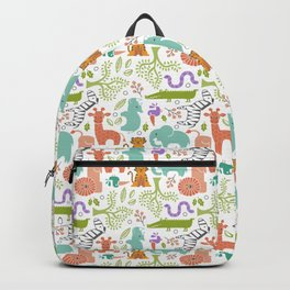 Zoo Pattern in Soft Colors Backpack
