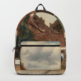 """Johannes Vermeer """"View on Houses in Delft (also known as 'The Little Street')"""" Backpack"""