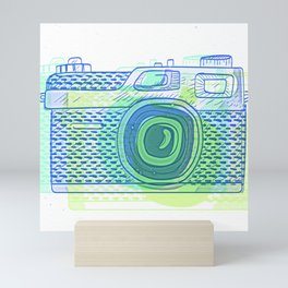 Sketchy Retro Analog Camera Mini Art Print