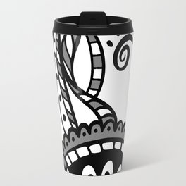 Leafy Lace Medallions - Black on White Travel Mug