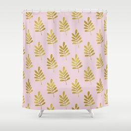 Leaf Love Pink & Gold Pattern Shower Curtain