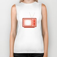 tv Biker Tanks featuring television by brittcorry