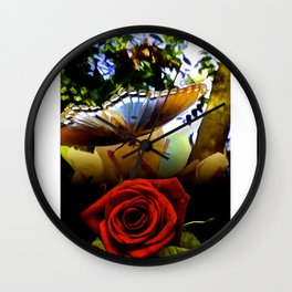 The Butterfly And The Rose Framed Wall Clock