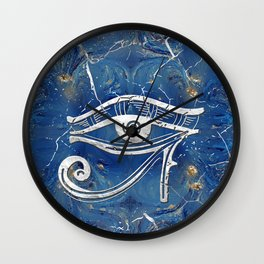 Silver Egyptian Eye of Horus  on blue marble Wall Clock