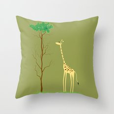 tree v giraffe Throw Pillow