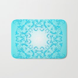 Baroque style turquoise floral texture Bath Mat