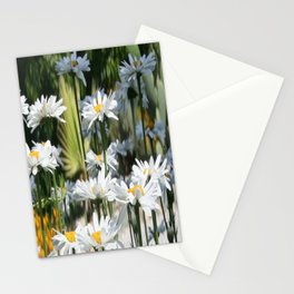 A Garden of White Daisy Flowers Stationery Cards