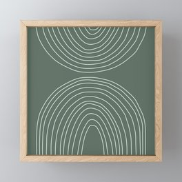 Handdrawn Geometric Lines in Forest Green Framed Mini Art Print