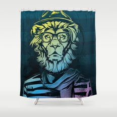 Hipster Lion Black and White Shower Curtain
