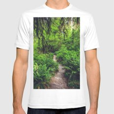 Rainforest Trail White MEDIUM Mens Fitted Tee