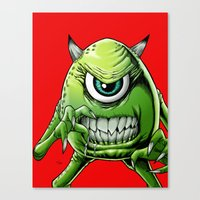 monsters inc Canvas Prints featuring Mike Monsters Inc. by J. J.