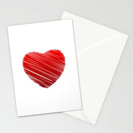 Scribbled red valentine heart- be my valentine Stationery Cards