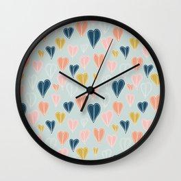 Heart Doodle Pattern 04 Wall Clock