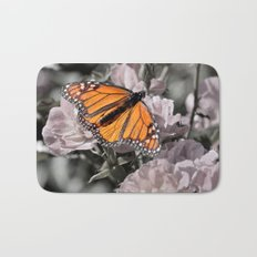 Monarch Butterfly on Pink Flowers and Gothic Tile Bath Mat