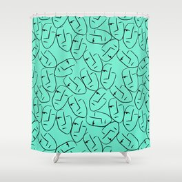 Jade Faces Abstract Shower Curtain