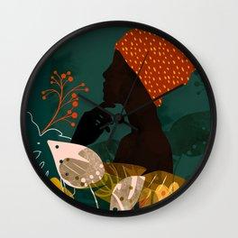 mid century black summer garden Wall Clock