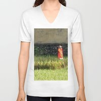 bali V-neck T-shirts featuring Bali Scarecrow by HurleyBurleyTurley