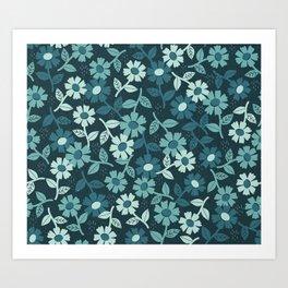 Denim Floral Art Print